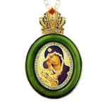 M-13G-10D Virgin of Don Green Faberge Style Icon Pendant W Crown & Chain To Hang, Wall Room Car Christmas Tree Decoration Gift! NEW!!