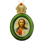 M-13G-16 Christ The Teacher Green Faberge Style Icon Pendant W Crown & Chain To Hang, Wall Room Car Christmas Tree Decoration Gift! NEW!!
