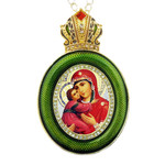 M-13G-1 Virgin Mary of Vladimir Green Faberge Style Icon Pendant W Crown & Chain To Hang, Wall Room Car Christmas Tree Decoration Gift! NEW!!