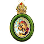 M-13G-4 Madonna & Child Green Faberge Style Icon Pendant W Crown & Chain To Hang, Wall Room Car Christmas Tree Decoration Gift! NEW!!