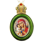 M-13G-5 Madonna & Child Green Faberge Style Icon Pendant W Crown & Chain To Hang, Wall Room Car Christmas Tree Decoration Gift! NEW!!