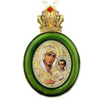 M-13G-7 Virgin Mary of Jerusalem Green Faberge Style Icon Pendant W Crown & Chain To Hang, Wall Room Car Christmas Tree Decoration Gift! NEW!!