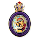 M-13P-4 Madonna & Child Faberge Style Icon Pendant W Crown & Chain To Hang, Wall Room Car Christmas Tree Decoration