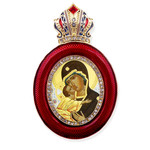 M-13R-10 Virgin of Vladimir Faberge Style Icon Pendant W Crown & Chain To Hang, Wall Room Car Christmas Tree Decoration