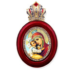 M-13R-4 Madonna & Child Faberge Style Icon Pendant W Crown & Chain To Hang, Wall Room Car Christmas Tree Decoration