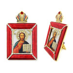 M-15R-3 Christ The Teacher  Madonna & Child Faberge Style Framed Icon W Stand & Chain NEW!