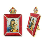 M-15R-9 Eternal Bloom Madonna & Child Faberge Style Framed Icon W Stand & Chain NEW!