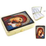 "PB1-2 Virgin of Kazan Icon Pill Box & Mirror NEW!! 2 1/2""x2"""
