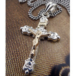 S564CR-S1724-18  Two Tone Sterling Silver Cross With 14KT Gold & Silver Chain 18""