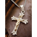 "S662FLCR-S1724-18 Sterling Silver Cross Two Tone Crucifix  With 18"" Silver Chain"