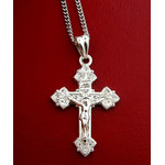 "S691CRRH-S1724-18 Crucifix Sterling Silver Cross 1 1/4""x3/4"" With Silver Chain 18"""