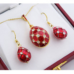 519-27-8077R Set of Faberge Style Egg Pendant and Earrings, Sterling Silver 925, Enameled & Gold Plated
