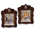 SI-22-23 Virgin of Vladimir & Christ The Teacher Matching Set  in Wooden Frame With the Glass With the Angel On Top 16x12""