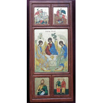 "TE431 Serigraph Greek Old Testament Trinity w/Saints Icon Panel   5 1/2""x 9"""