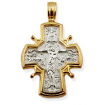 "EC-120 Icon Cross Crucifix & Presentation of  Mary in Temple Two Sided Reversible Sterling Silver 925 22kt Gold Gilded Icon Cross 1 1/4""x 3/4"""