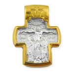 "EC-121 Crucifixion &  Presentation of Christ in The Temple Engraved Icon Cross Sterling Silver 925 22kt Gold Gilded! 1""x3/4"""