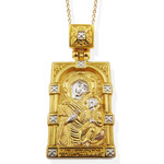 EC-128 Sterling SIlver 925 22 kt Gold Gilded Madonna & Child Icon Pendant W Silver/Gold Gilded Chain