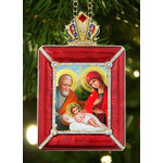 """M-15R-N Holy Family Icon Pendant NEW! W Chain and Stand Gift Box 3 1/2"""""""