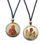 SF-793 St Ann & Guardian Angel Reversible Icon Pendant on Rope To Hang NEW!
