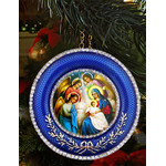 "M-16B-NA Nativity of Christ Icon Pendant NEW! W Chain and Stand Gift Box 2 5/8""x2 5/8"""