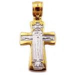 EC-105 Sterling Silver Gold Gilded Reversible Icon Cross Crucifix & Mother of God W Sterling Silver Gold Gilded Chain 18""