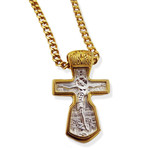 "EC-98-GPBM-20 Sterling Silver 925 22kt Gold Plated Crucifix Cross Prayer on the Back Side Gold Plated 18"" Base metal Chain NEW!!"