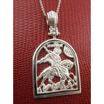 """AD-17 Sterling Silver 925 St George Icon Pendant Medal  NEW 1 3/4""""x1"""""""
