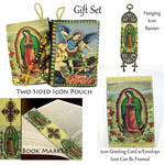 G-Set  Our Lady of Guadalupe Gift Set Tapestry Icon Pouch Book Marker Icon Banner & Greeting Card W Envelope!