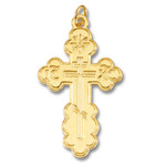 """GP1041 Sterling Silver 24kt Gold Plated Three Barred Cross  About 2"""" Including Bail"""