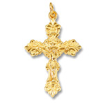 "GP590CR Crucifixion Sterling Silver 24kt Gold Plated Cross  1"" including bail NEW!"