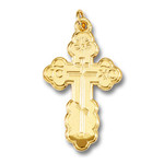 """GP641 Sterling Silver 24kt Gold Plated Three Barred Cross  1 1/4"""" Including Bail"""