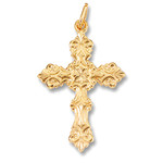"GP890 Sterling Silver 24kt Gold Plate Cross 1 3/4"" including bail"