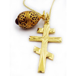 """GP740DM-176R Set of 3 Sterling Silver 24kt Gold Plated Three Cross 22kt Gold Plated Egg Pendant & Silver Gold Plated Chain 20"""""""