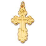 """GP741 Sterling Silver 24 kt Gold Plated Three Barred Cross  1 1/2"""" Including Bail"""