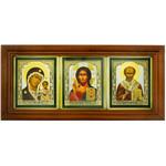 "IR-800 Virgin of Kazan Christ The Teacher St Nicholas Icon in Wooden Frame W Glass NEW!! 8 1/2""x4"""