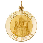 "M524  New Pope Francis Medal 14kt  Gold Solid with English Writing 1""  2.33gr"