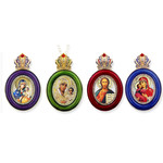 M-13-Set1  Faberge Style Enameled Framed icon Pendants Set of 4 W Chain Room / Car /Gift /Christmas Tree Decorations Gift Boxed