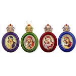 M-13-Set2  Faberge Style Enameled Framed icon Pendants Set of 4 W Chain Room / Car /Gift /Christmas Tree Decorations Gift Boxed