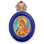 M-13B-P Faberge Style Icon Pendant W Crown & Chain To Hang, Wall Room Car Christmas Tree Decoration