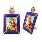 M-15P-4 Madonna & Child Faberge Style Framed Icon W Stand & Chain NEW!