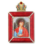 M-15R-36 ST Michael Icon Faberge Style Royal Red Frame W Chain & Stand Gift Boxed NEW