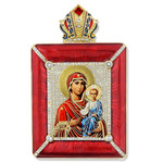 M-15R-40 Madonna & Child Icon Fberge Style Frame W Stand and Chain to Hang Gift Boxed 3 1/2""