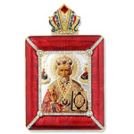 M-15R-65 ST Nicholas Icon Faberge Style Royal Red Frame W Chain & Stand Gift Boxed NEW
