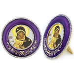 M-16P-10 Madonna & Child Faberge Style Round Royal Purple Framed Icon W Stand & Chain NEW