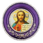 M-16P-16 Christ The Teacher Faberge Style Round Royal Purple Framed Icon W Stand & Chain NEW