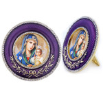 M-16P-61 Madonna & Child Virgin Mary Eternal Bloom Faberge Style Round Royal Purple Framed Icon W Stand & Chain NEW