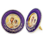 M-16P-7 Madonna & Child Faberge Style Round Royal Purple Framed Icon W Stand & Chain NEW