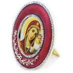 M-16R-25 Virgin Of Kazan Madonna & Child Faberge Style Round Framed Icon W Stand & Chain NEW!