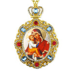 M-8-64 Madonna & Child Icon Pendant Framed w Chain Room Car Christmas Tree Decoration NEW!!