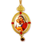 M-9-64 Madonna & Child  Framed Icon Pendant With Chain & Pearls